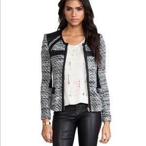 IRO wool jacket with leather trim